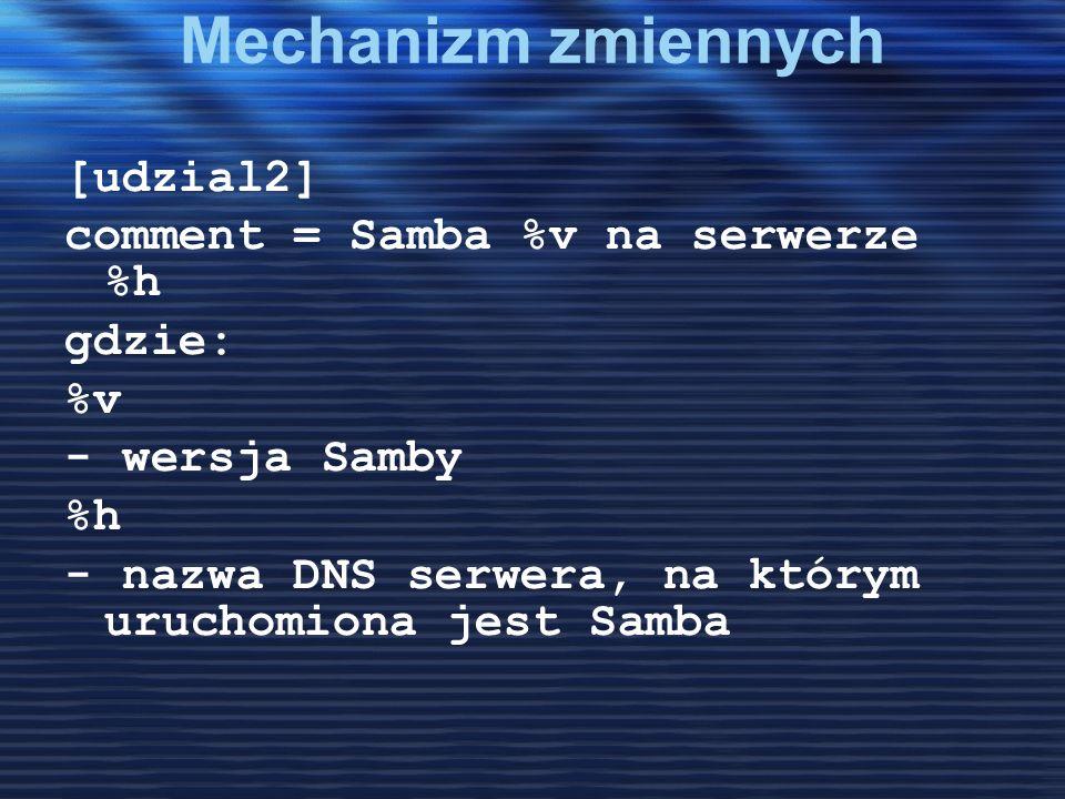 Mechanizm zmiennych [udzial2] comment = Samba %v na serwerze %h gdzie: